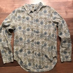 Margaret OLeary floral button down blouse shirt